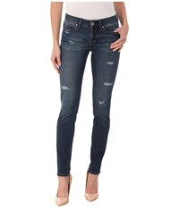 Yummie Tummie Skinny Denim Destroyed Indigo Women's Jeans Blue