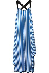 By Malene Birger Shalana Asymmetric Striped Satin Maxi Dress Blue