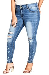 City Chic Plus Size Sweet Pearly Jeans Light Denim
