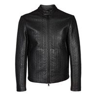 Emporio Armani Black Quilted Leather Jacket