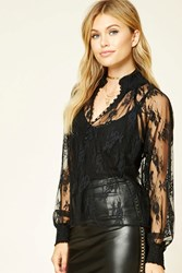 Forever 21 Contemporary Sheer Lace Top