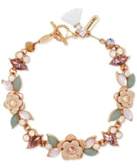 Lonna And Lilly Gold Tone Flower Stone Crystal Toggle Bracelet Two Tone