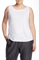 Eileen Fisher Boatneck Sleeveless Linen Tank Plus Size White