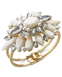 Inc International Concepts I.N.C. Gold Tone Crystal And Imitation Pearl Cuff Bracelet Created For Macy's Gld Wht Cr