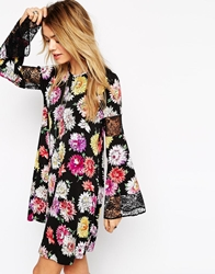 Asos Boho Swing Dress In Floral Print With Lace Inserts