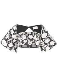 Alexis Cropped Floral Top White