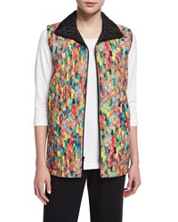 Caroline Rose Rain Or Shine Mosaic Print Vest Women's Multi Colors