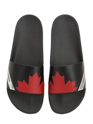 Dsquared Maple Leaf Leather Slide Sandals Black Red