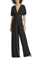 Dessy Collection Plus Size Women's Convertible Wide Leg Jersey Jumpsuit Black