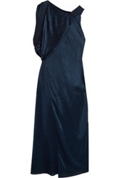 Atlein Open Back Satin Jersey Dress Navy