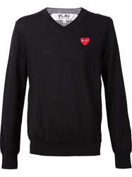 Comme Des Garcons Play 'Play' V Neck Sweater Black