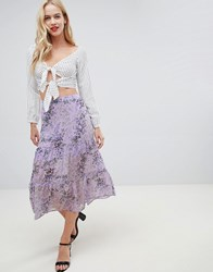 Oasis Midi Skirt With Tiered Detail In Lilac Print Multi Lilac