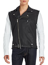 Balmain Two Tone Asymmetrical Zip Moto Jacket Black