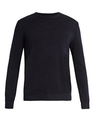 De Bonne Facture Crew Neck Linen And Wool Blend Sweater Navy