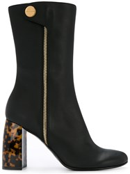 Stella Mccartney Tortoiseshell Heel Boots Cotton Plastic Polyester Artificial Leather Black