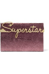Charlotte Olympia Superstar Vanity Croc Effect Leather Clutch Plum