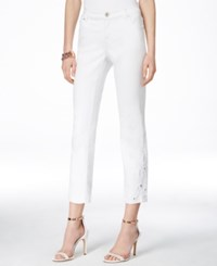Inc International Concepts Petite Embellished White Wash Cropped Jeans Only At Macy's White Denim