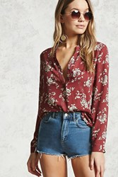 Forever 21 Floral Print Chiffon Blouse Burgundy Cream