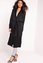 Missguided Satin And Chiffon Maxi Duster Jacket Black