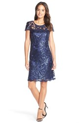 Women's Donna Ricco Sequin Illusion Lace Shift Dress