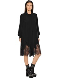 Mcq By Alexander Mcqueen Silk Chiffon Dress W Lace Hem