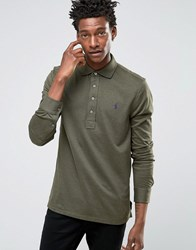 Polo Ralph Lauren Custom Fit Jersey Long Sleeved Shirt In Green Olive
