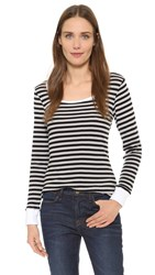 Frame Le Boat Neck Long Sleeve Tee Noir Stripe