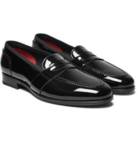 Tom Ford Taylor Grosgrain Trimmed Patent Leather Penny Loafers Black