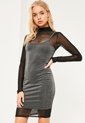 Missguided Grey Metallic 2 In 1 High Neck Dress
