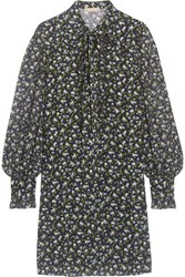 Michael Kors Collection Pussy Bow Floral Print Silk Georgette Mini Dress Blue