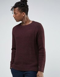 Selected Homme Crew Neck Waffle Knit With Raglan Sleeve Burgundy Red