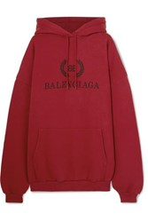 Balenciaga Oversized Printed Cotton Jersey Hoodie Red