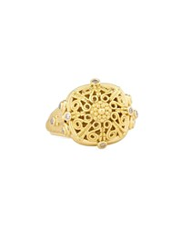 Konstantino Flameco Scroll Dome Ring With Brown Diamonds