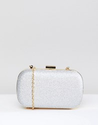 True Decadence Decadance Silver Glitter Box Clutch Bag Silver Glitter