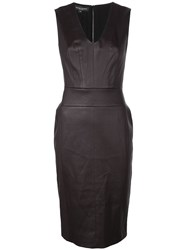 Narciso Rodriguez V Neck Fitted Dress Brown