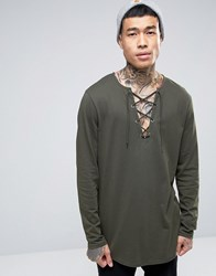 Asos Longline Long Sleeve T Shirt With Lace Up Neck Forest Nights Green