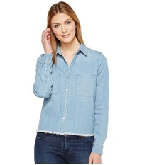 7 For All Mankind Step Hem Denim Shirt In Skyway Authentic Blue Skyway Authentic Blue Women's Long Sleeve Button Up