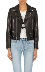 Saint Laurent Women's Lambskin Classic Moto Jacket Black