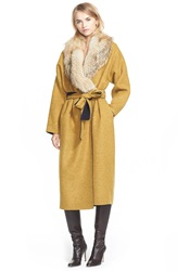 Derek Lam Reversible Wool Blend Coat With Removable Genuine Coyote Fur Collar Navy Yellow