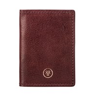 Maxwell Scott Bags High Quality Leather Oyster Card Holder In Wine