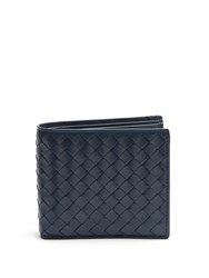 Bottega Veneta Intrecciato Woven Bi Fold Leather Wallet Blue