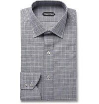 Tom Ford Grey Slim Fit Prince Of Wales Checked Cotton Poplin Shirt Gray