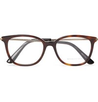 Bottega Veneta D Frame Tortoiseshell Acetate And Burnished Gold Tone Optical Glasses Tortoiseshell