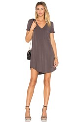Heather V Neck Pocket Tee Dress Gray