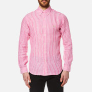 Polo Ralph Lauren Men's Stripe Slim Fit Long Sleeve Linen Shirt Pink