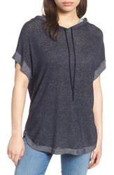 Vince Camuto Ribbed Trim Short Sleeve Hoodie Obsidian