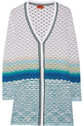Missoni Metallic Crochet Knit Cardigan White