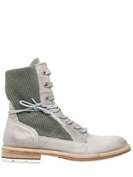 A.S.98 Military Cotton And Washed Leather Boots