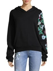 7 For All Mankind Floral Accent Crop Hoodie Black