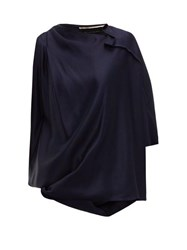 Roland Mouret Hopkins Asymmetric Satin Blouse Navy